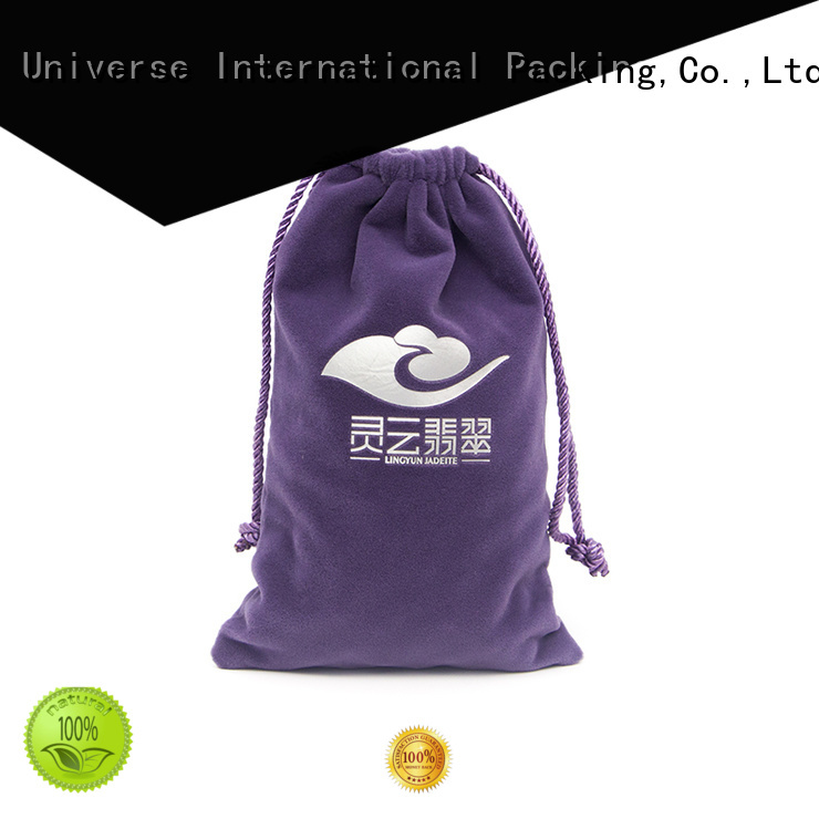 Yonghuajie printed logo velvet drawstring bag for wholesale for jewelry store