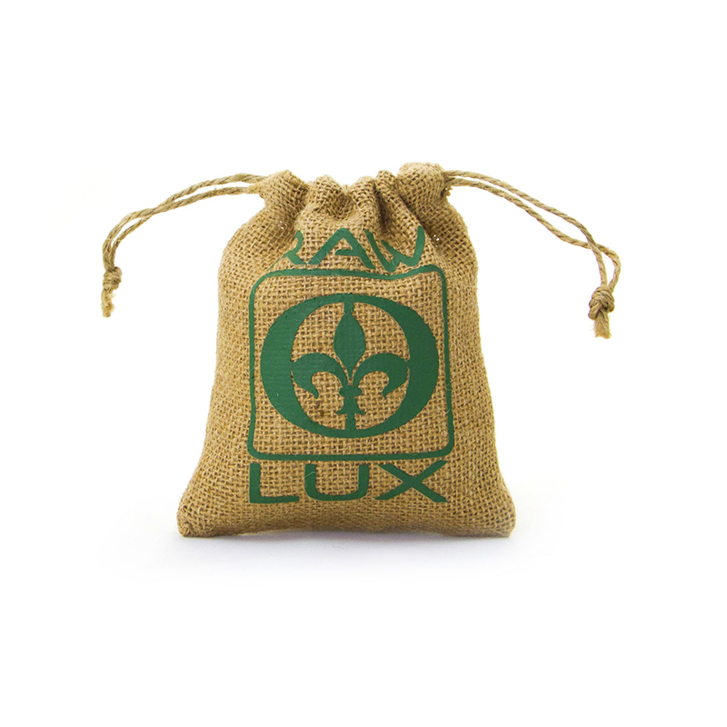 Custom Logo Natural Jute Coffee Drawstring Bag-UIP005
