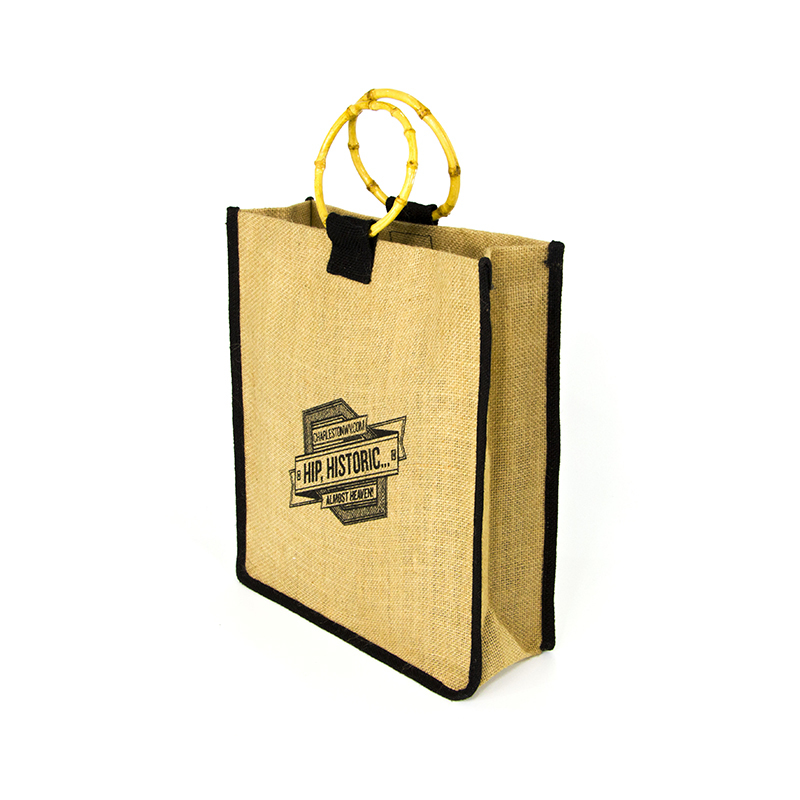 High Quality Custom Bamboo Handle Personalised Jute Bags For Shopping-UIP021
