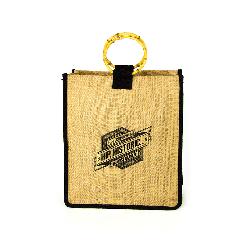 High Quality Custom Bamboo Handle Jute Tote Bag For Shopping-UIP021