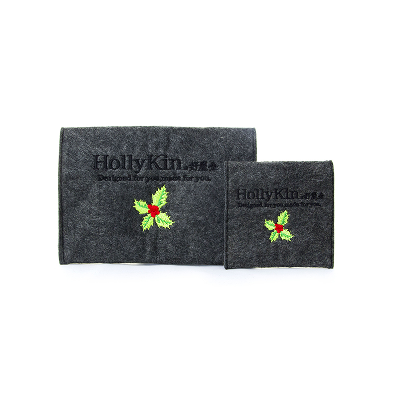Custom Made Felt Flap Bag With Embroidered Logo-UIP006