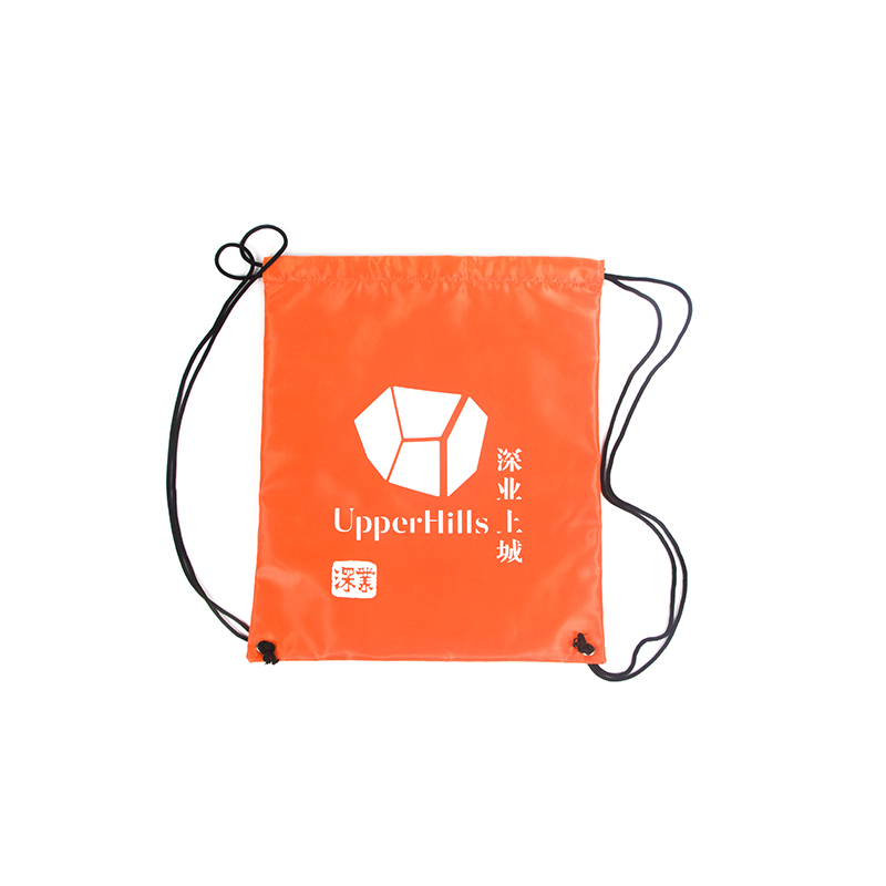 Plain Orange Drawstring Nylon Gym Polyester Bag With Custom Printing-UIP014