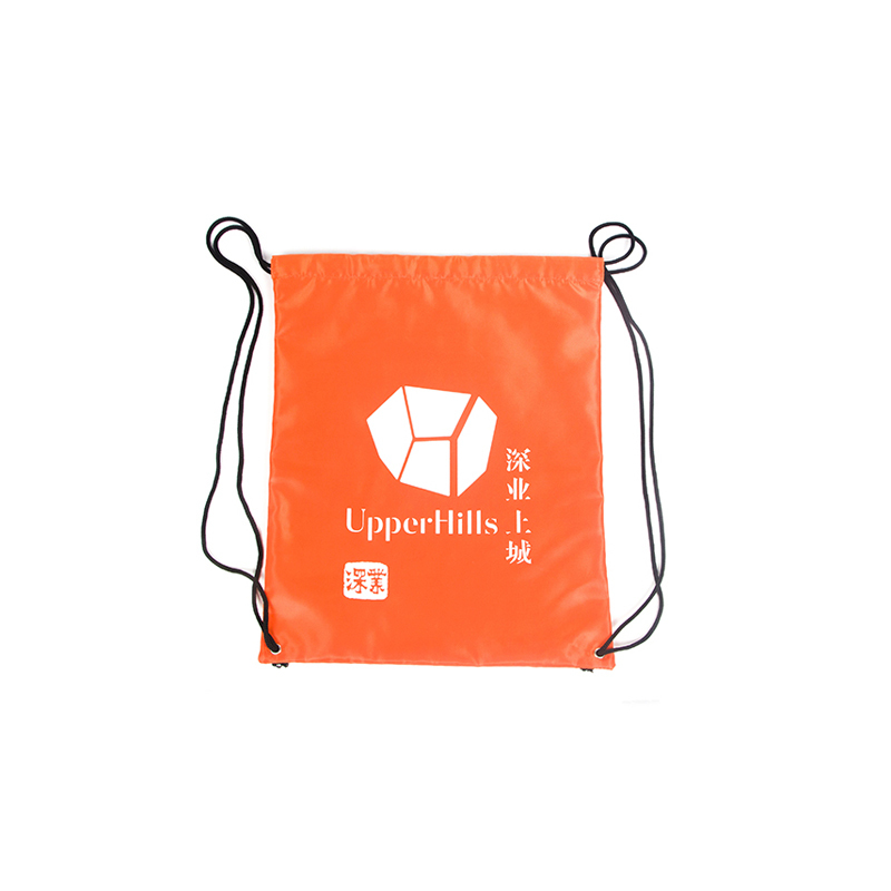 Plain Orange Drawstring Nylon Gym Bag With Custom Printing-UIP014