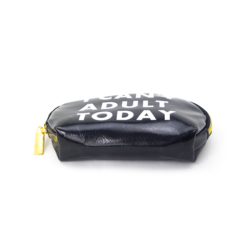 Custom Logo Black Pu Leather Cosmetic Zipper Bag With Lining-UIP020