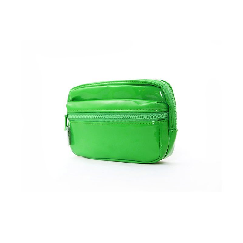 Custom Order Green Pu Leather Cosmetic Zipper Bag With Outside Pocket-UIP011