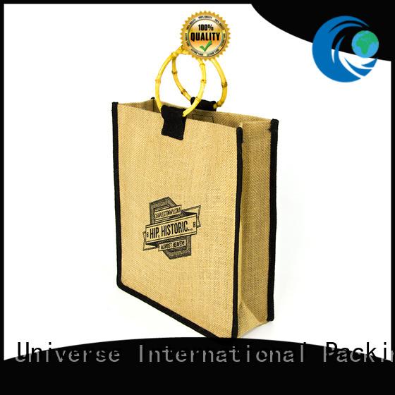 natural material jute sack jute shopping bag bamboo handle at discount for wine