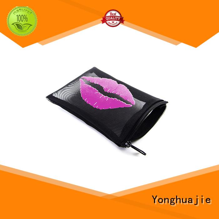 Yonghuajie Brand bag logo mesh drawstring bags toiletry factory