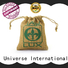 Yonghuajie custom logo personalised jute bags jute wine bag bamboo handle for wine