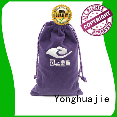 printed logo velvet pouch top manufacturer for packaging Yonghuajie