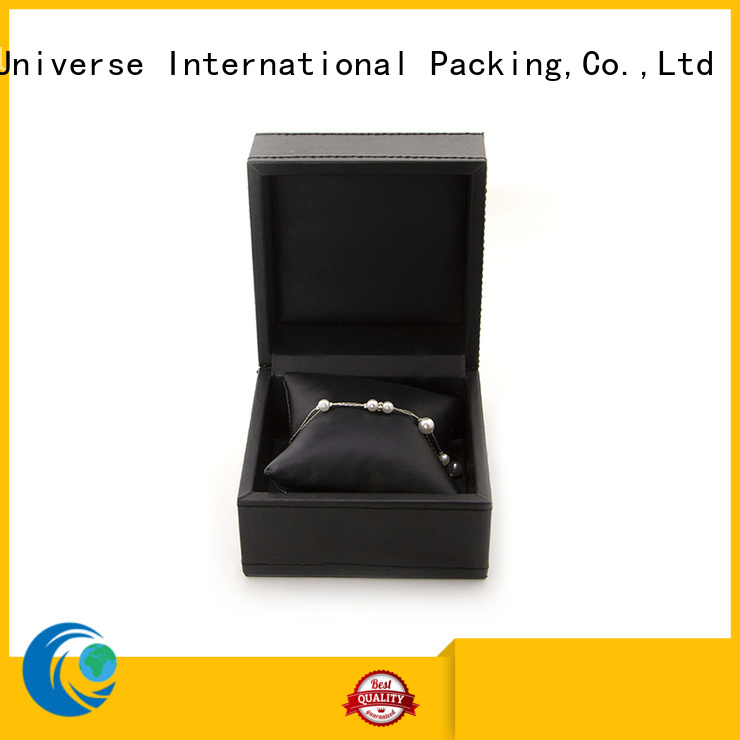 black leather cufflink box pu leather for necklace Yonghuajie