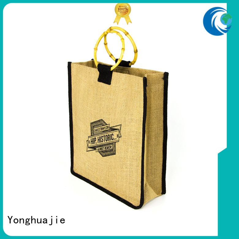 Quality Yonghuajie Brand logo jute sack                                                                                                                                                                                               jute shopping bag