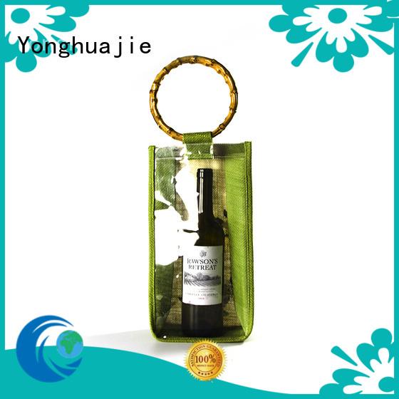Yonghuajie natural material personalised jute bags jute wine bag high quality for wine
