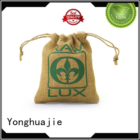 Yonghuajie custom logo small jute bags jute storage bag bamboo handle for wine