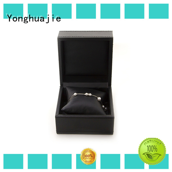 Yonghuajie black leather watch box fast delivery for jewelry