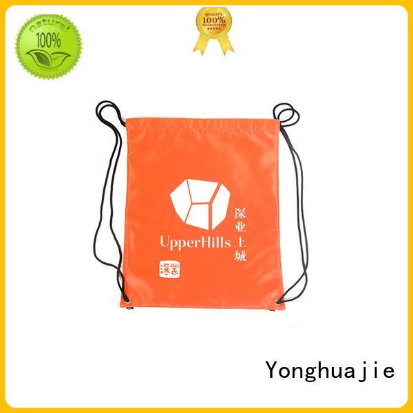 Quality Yonghuajie Brand gym orange nylon drawstring bag