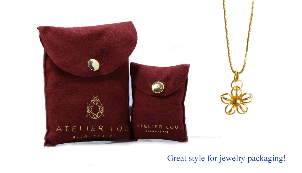 packaging button suede flap bag jewelry Yonghuajie company