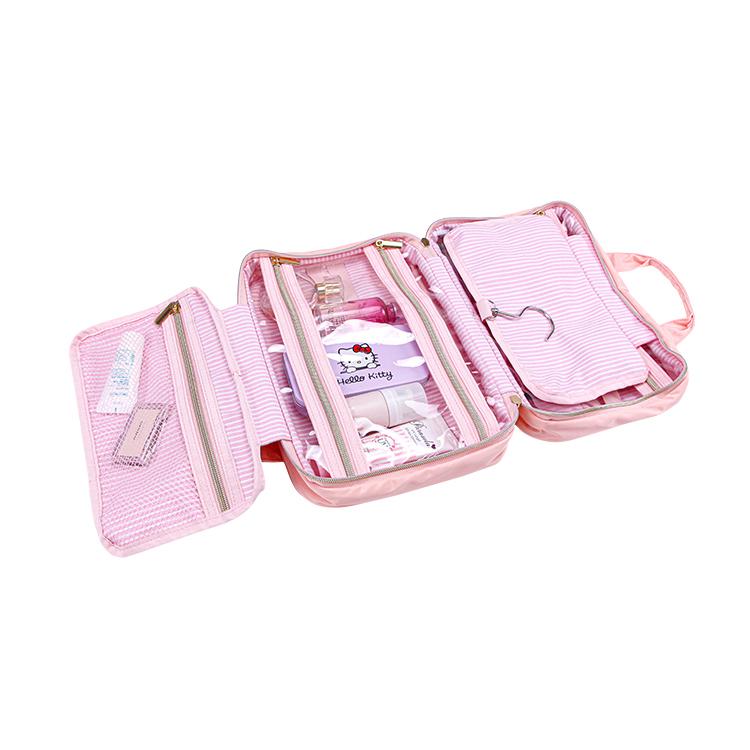 Nylon zipper cosmetic organizer travel bag with handles