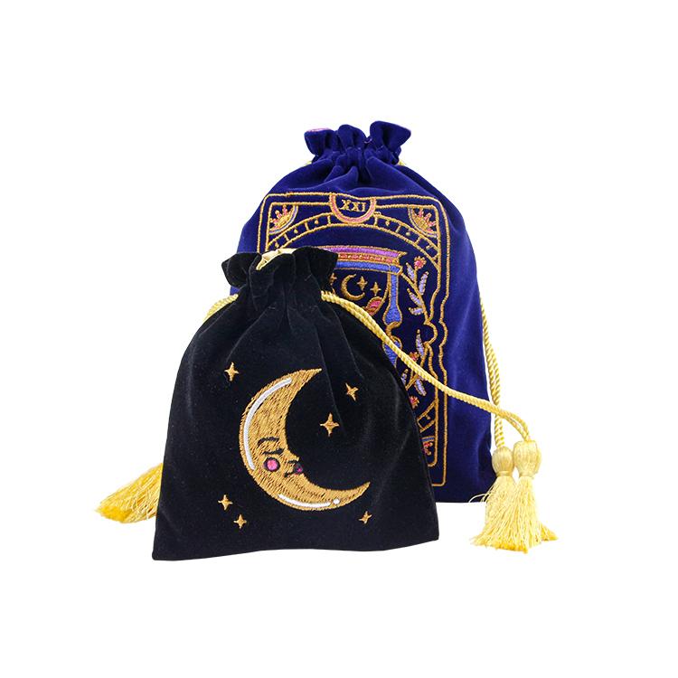 Velvet Jewelry pouch drawstring bag with tassel