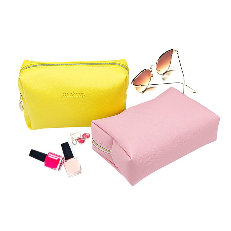 Girls Pu leather zipper cosmetic makeup bag