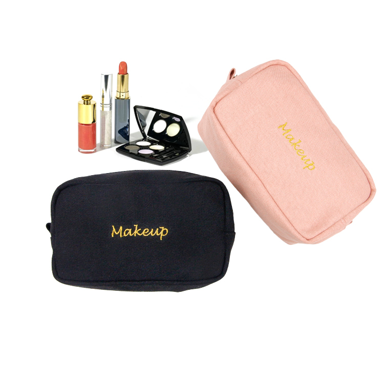 Cotton canvas square travel makeup bag