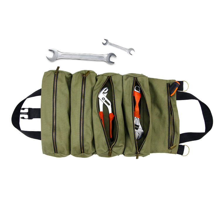 Tote green  canvas roll up tool bag