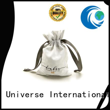 Custom Linen Drawstring Bag With Grosgrain Ribbon