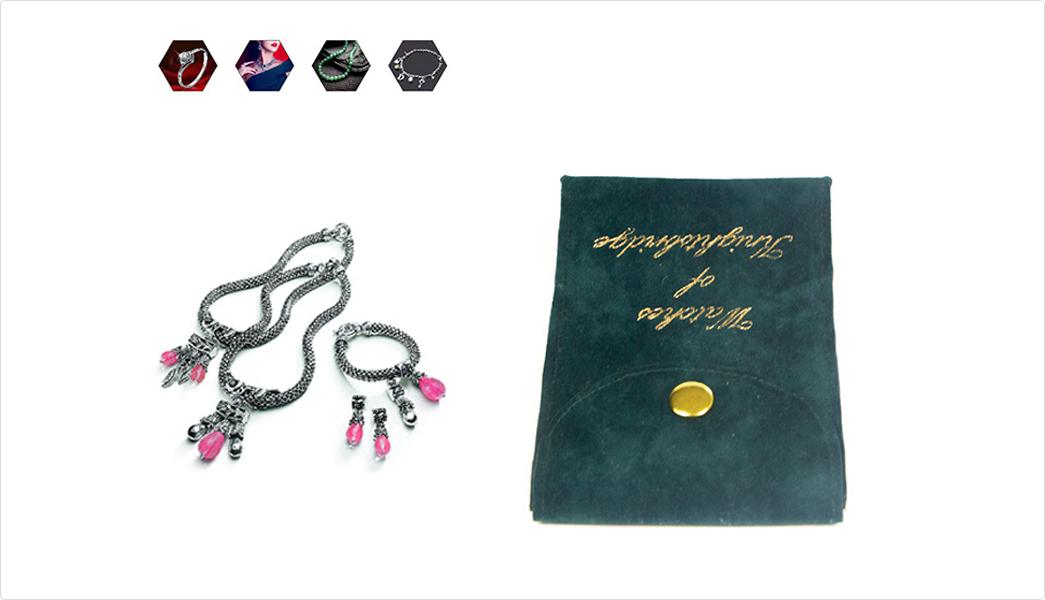 printed green gift velvet makeup bag Yonghuajie