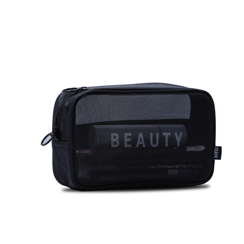 Custom Nylon Mesh Zipper Toiletry Cosmetic Bag with Logo