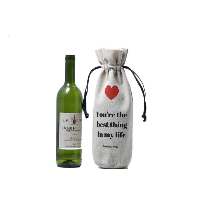 Natural Linen Pouch Wine Bottle Drawstring Bag With Custom Logo
