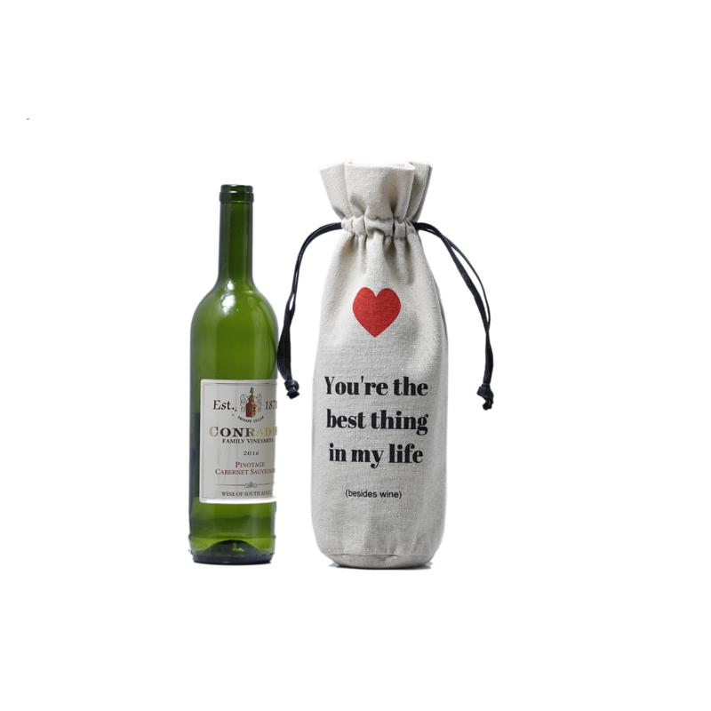 Natural Linen Wine Bottle Drawstring Bag with Custom Logo