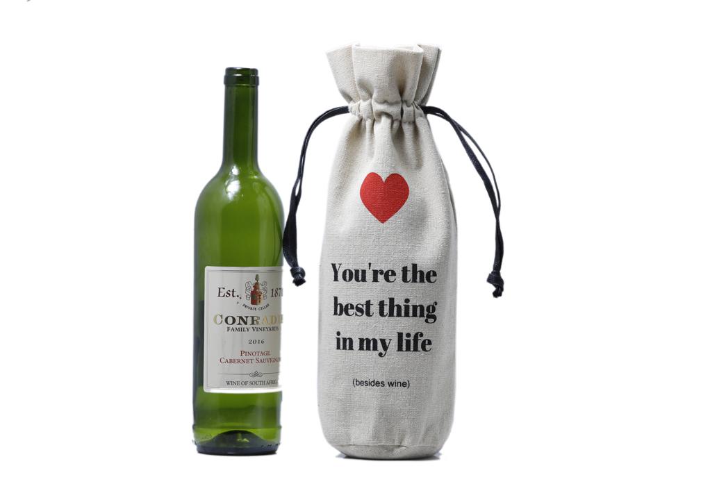package bottle natural Yonghuajie Brand linen pouch                                                                                                                                                                                               linen drawstr