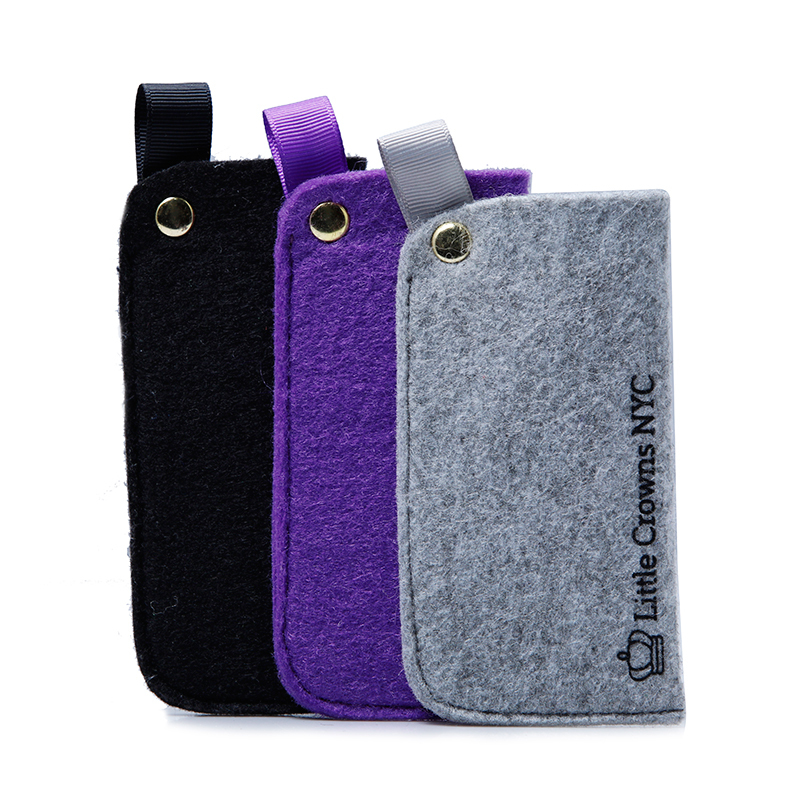 Small Felt Purse For Power Bank Packaging With Small Handle And Button Close