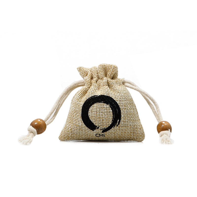 Custom printed logo Small Jute Sack Jewelry Drawstring Bag with beads