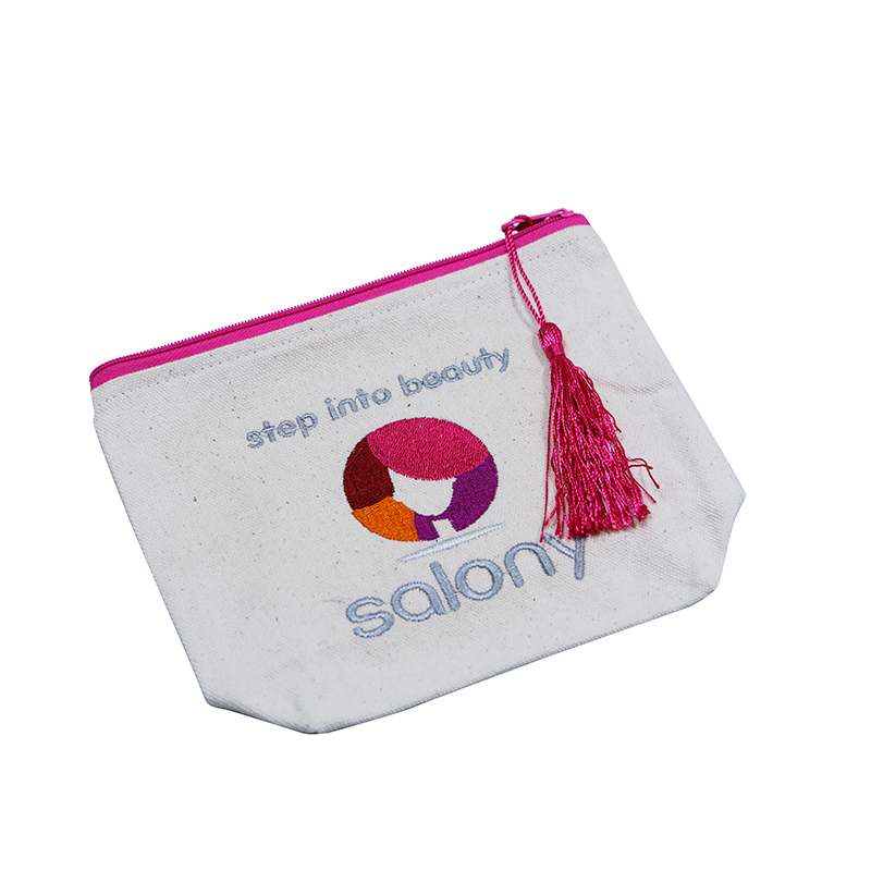 Natural Canvas Zipper Bag with Embroidery Logo and tassel
