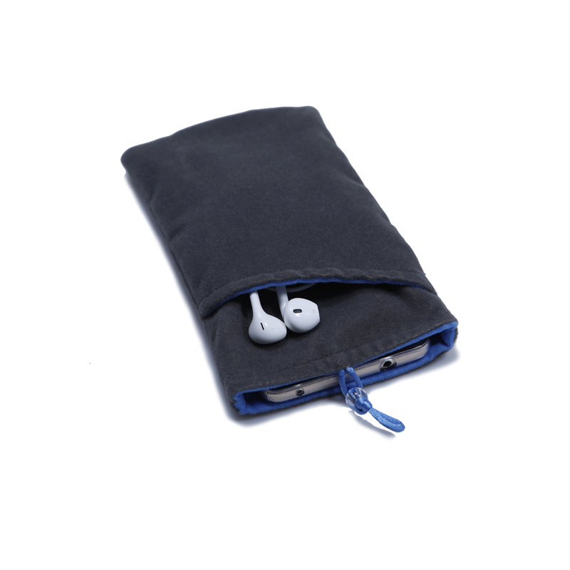 Grey velvet mobilephone pouch with front pocket for earbuds