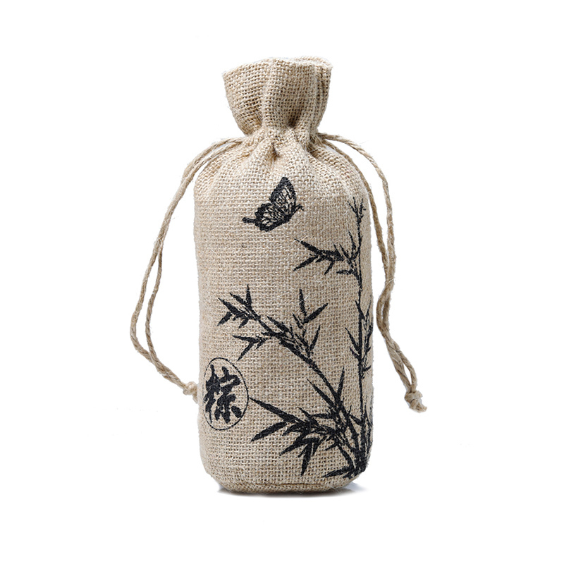 custom colors drawstring jute wine bottle bag with logo