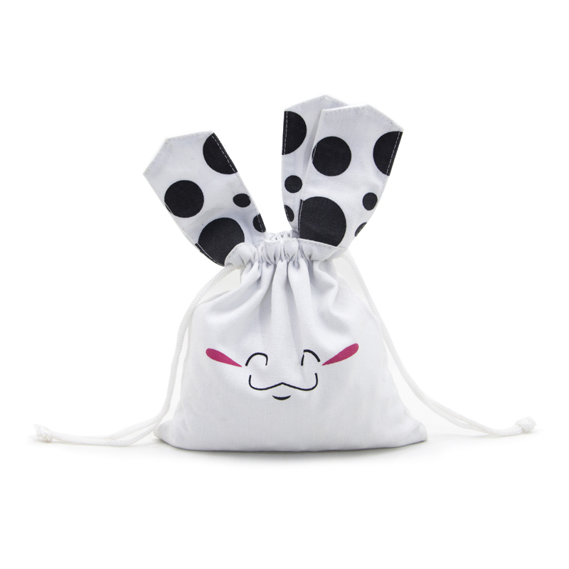 Off White Cotton Drawstring Bags With Ears