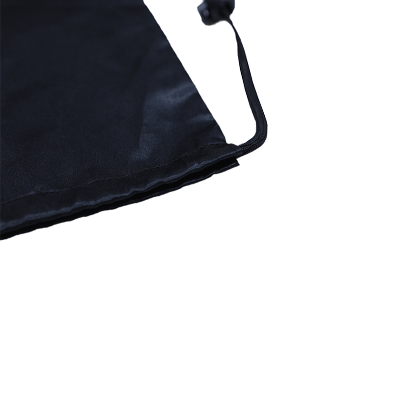 Black Nylon Drawstring Bag With Drawstring