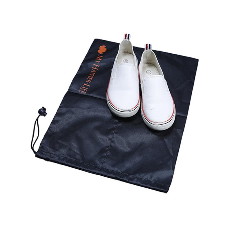 Black Nylon Shoe Bag with drawstring