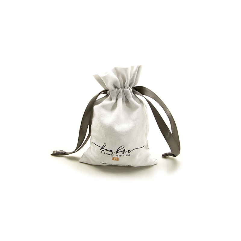 Custom Linen Drawstring Bag With Grosgrain Ribbon