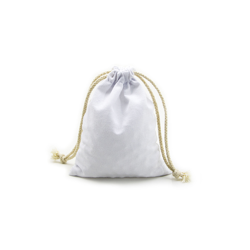 Reusable White Cotton Dawstring  Bag With Silk Printing