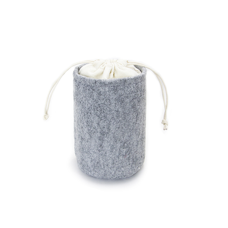 Custom Round Bottom Felt Drawstring Pouch Bag With Canvas Cloth Top
