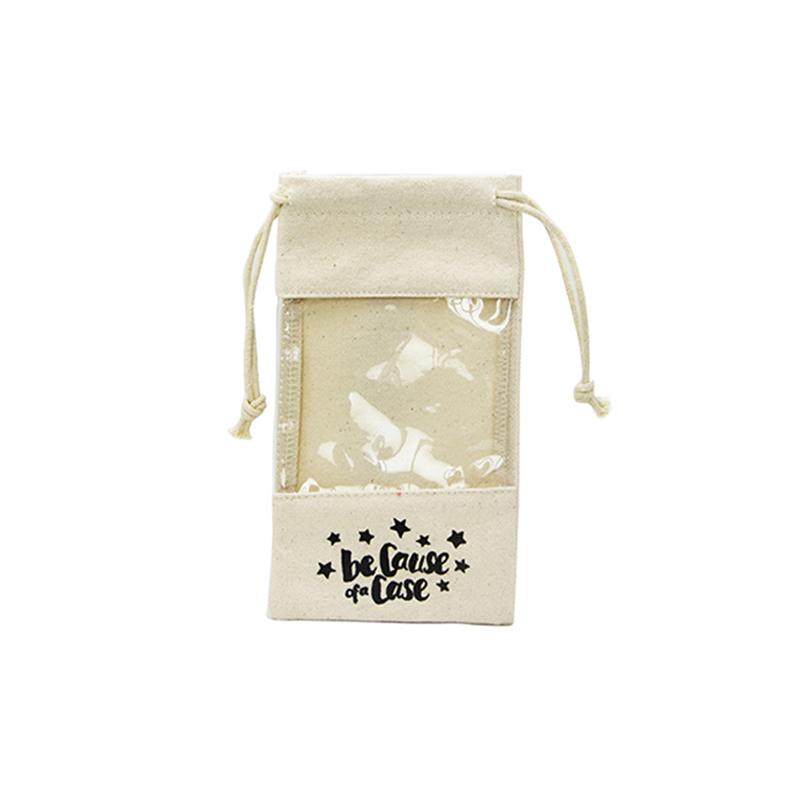 Custom Drawstring Canvas Bag With Pvc Window
