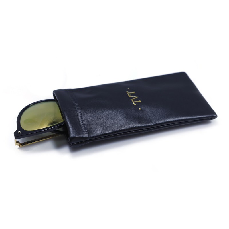 Pu leather glasses case with gold stamping