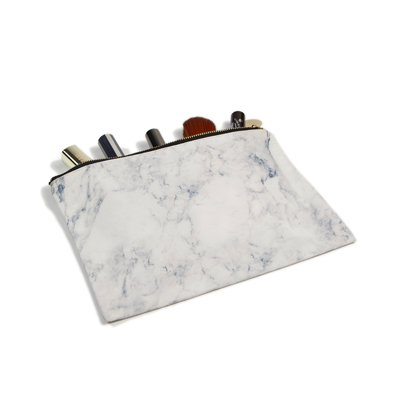Cotton Cosmetic Bag With Marble Digital Printing