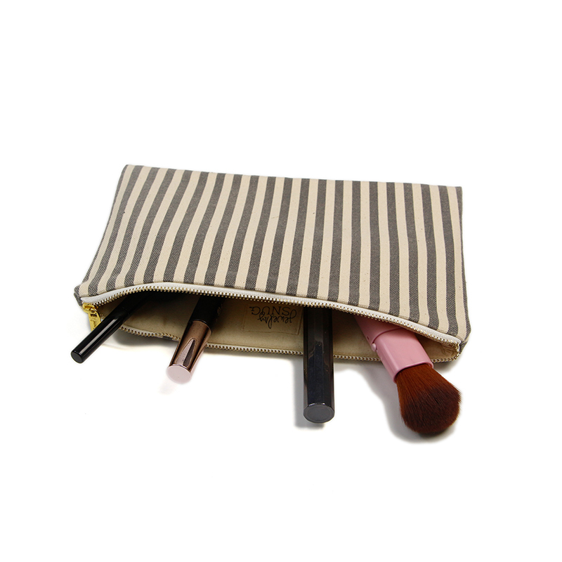 Canvas Cosmetic Bag With Striped Printing