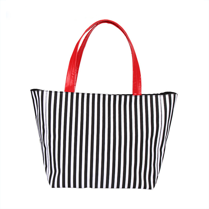 Striped Canvas Tote Bag Shopping Bag