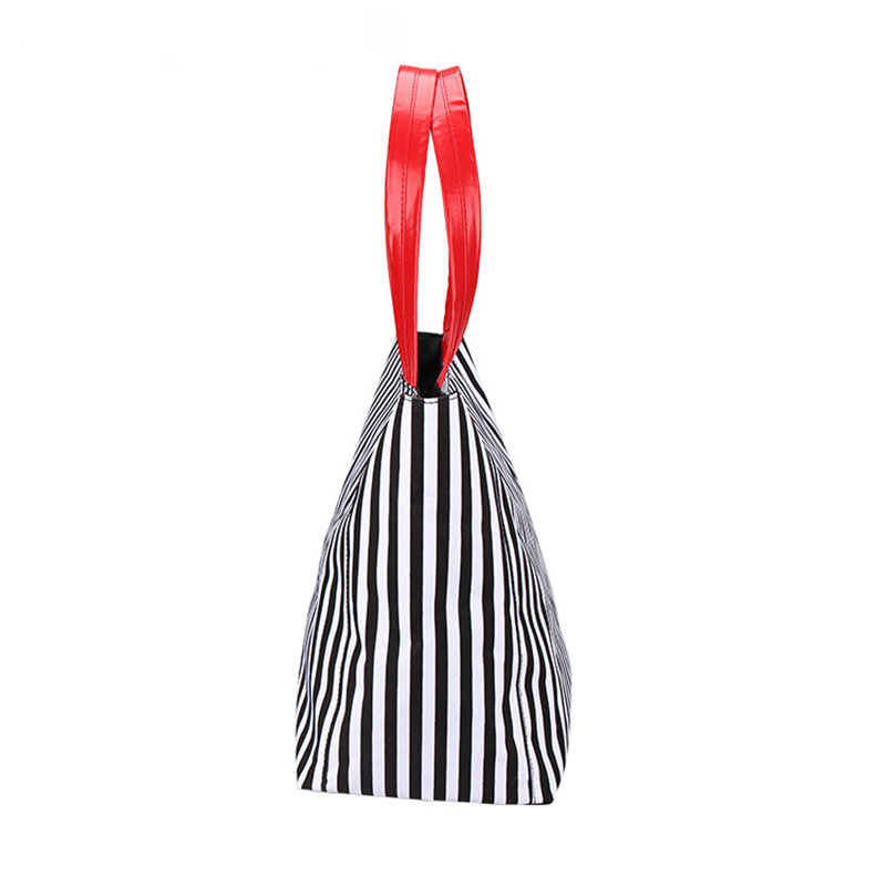Striped Canvas Tote Bag Felt Purse