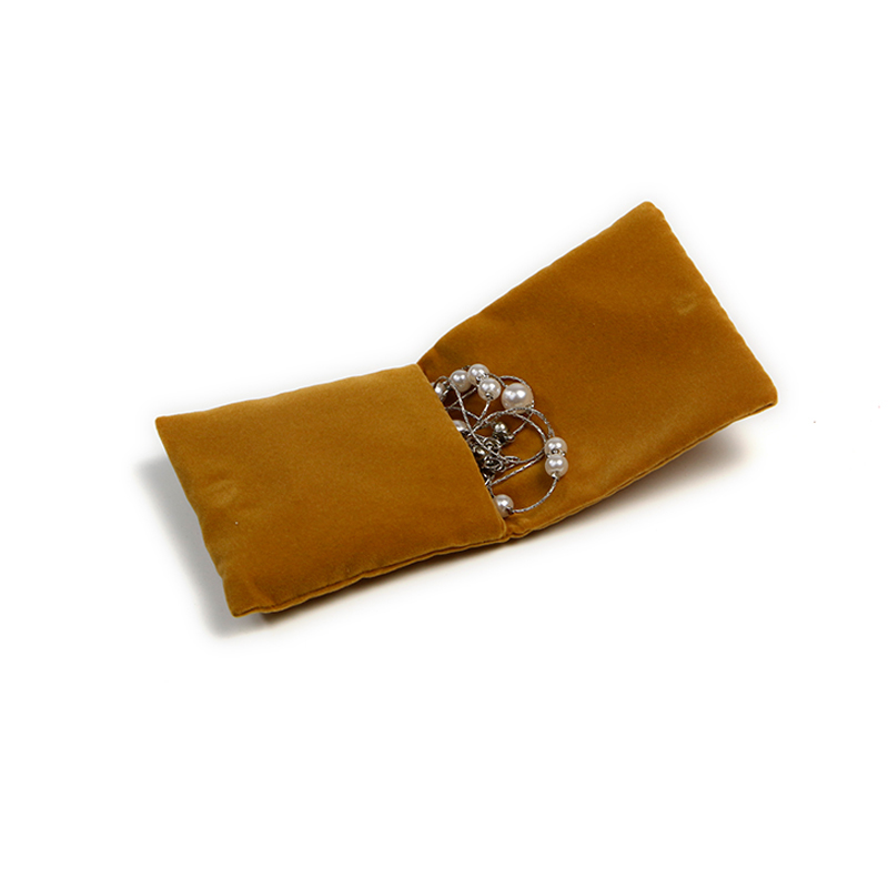 Small Velvet Jewelry Bag Flap Pouch With Magnetic Button Closure
