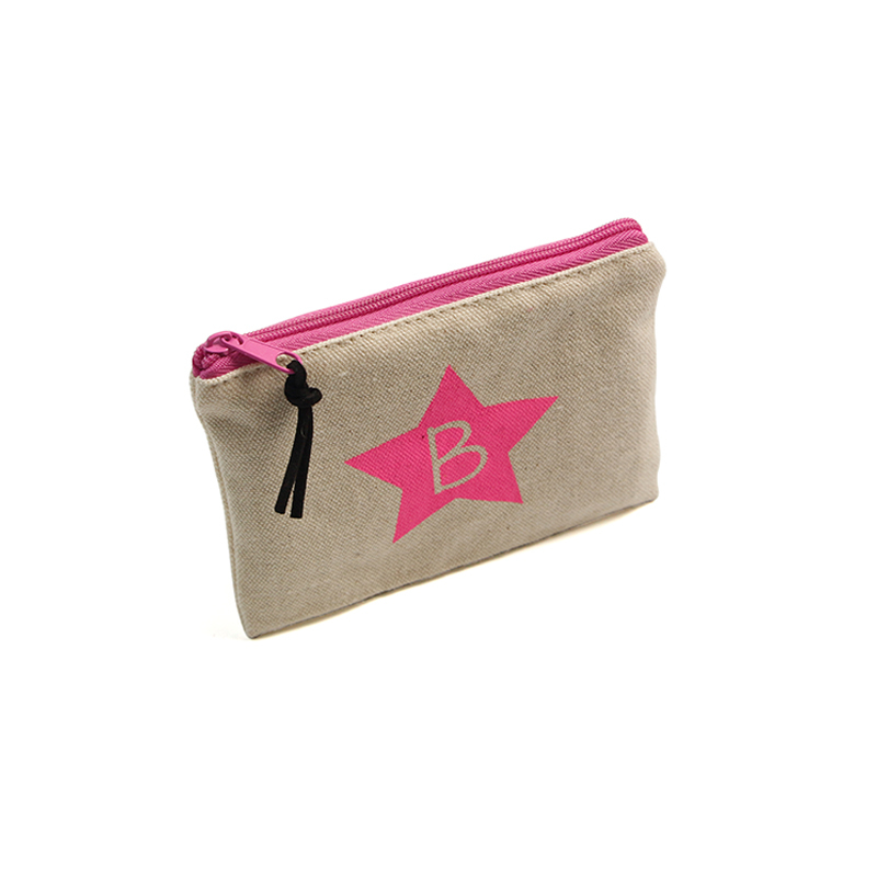Cotton Canvas Cosmetic Makeup Zipper Bag  With Star Printing Logo